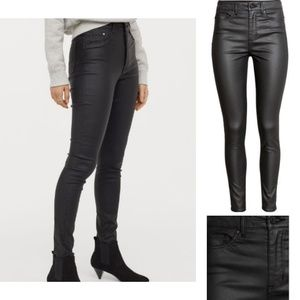 H&M Black Leather Coated High Waisted Jeans Sz 6